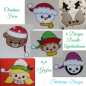 Preview: Stickdatei Set Christmas Faces Doodle-Applikationen