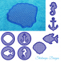 Preview: Stickdatei Set Maritime Handtuch Motive Embossed 10x10