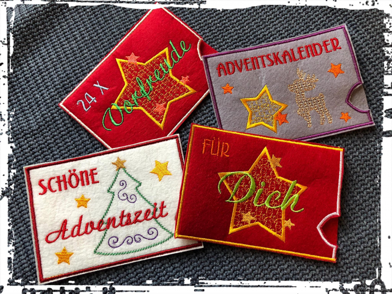 Stickdatei Set ITH Hüllen für Adventskalender to go