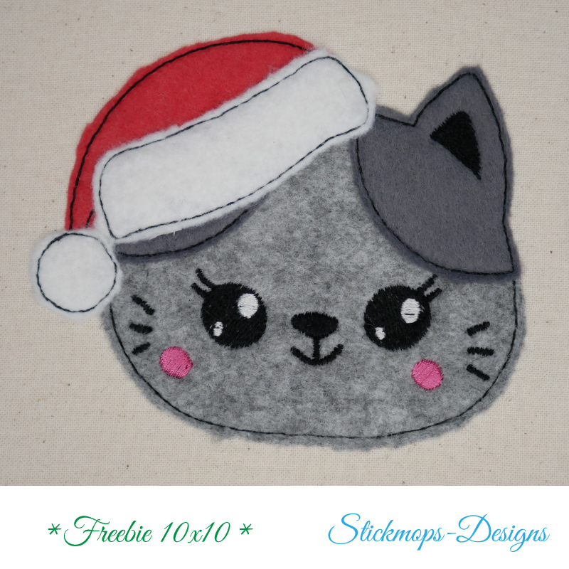 Freebie Stickdatei Christmas Cat Doodle Applikation