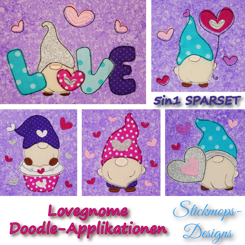Stickdatei Set 5in1 Lovegnome Doodle-Applikationen