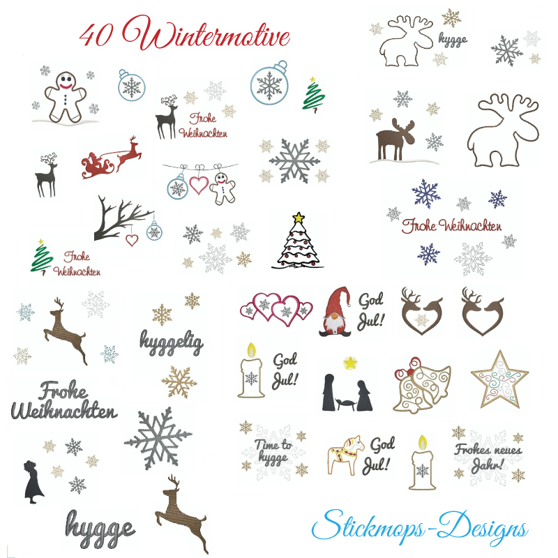 Stickdatei Set Wintermotive (10x10 u. 13x18 Rahmen)