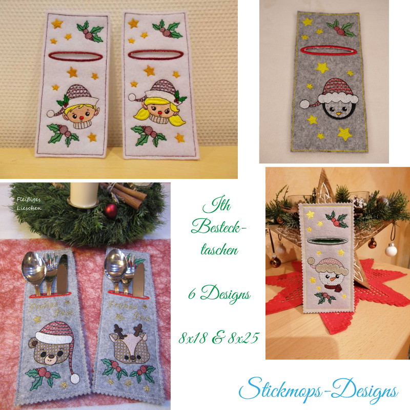 Stickdatei Set ITH Bestecktaschen Christmas Faces