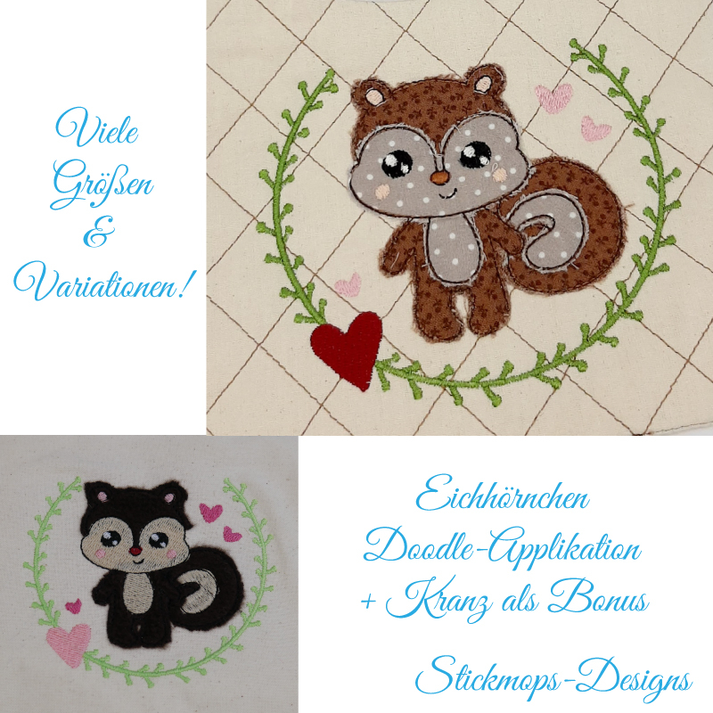 Stickdatei Set Eichhörnchen Doodle-Applikation plus floraler Kranz