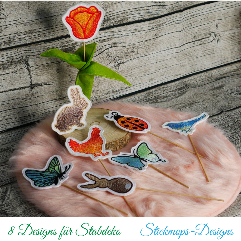 Stickdatei Set ITH Frühlings-Stabdesigns