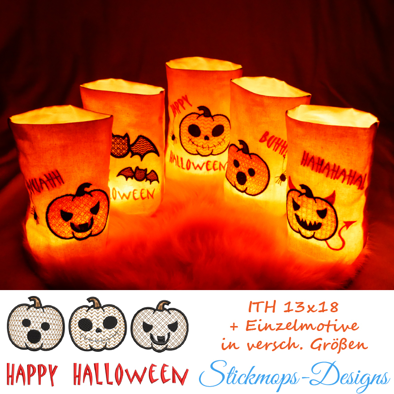 Stickdatei Set ITH Lichtbeutel Halloween (13x18 Rahmen) plus Einzelmotive