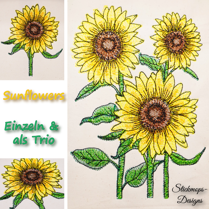 Stickdatei Set Sunflowers (div. Größen)