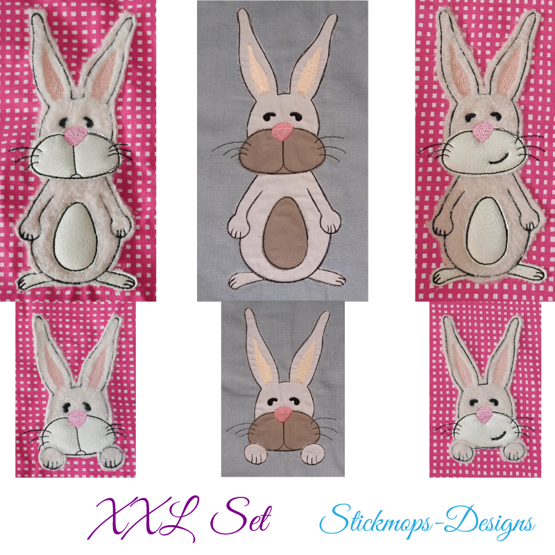 Stickdatei Set XXL Hase Charlie in 3 Variationen