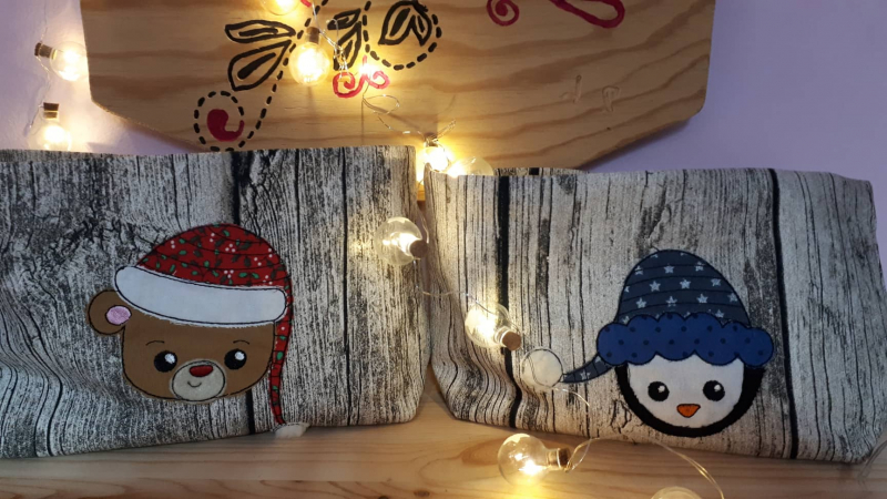 Stickdatei Set Christmas Faces Doodle-Applikationen