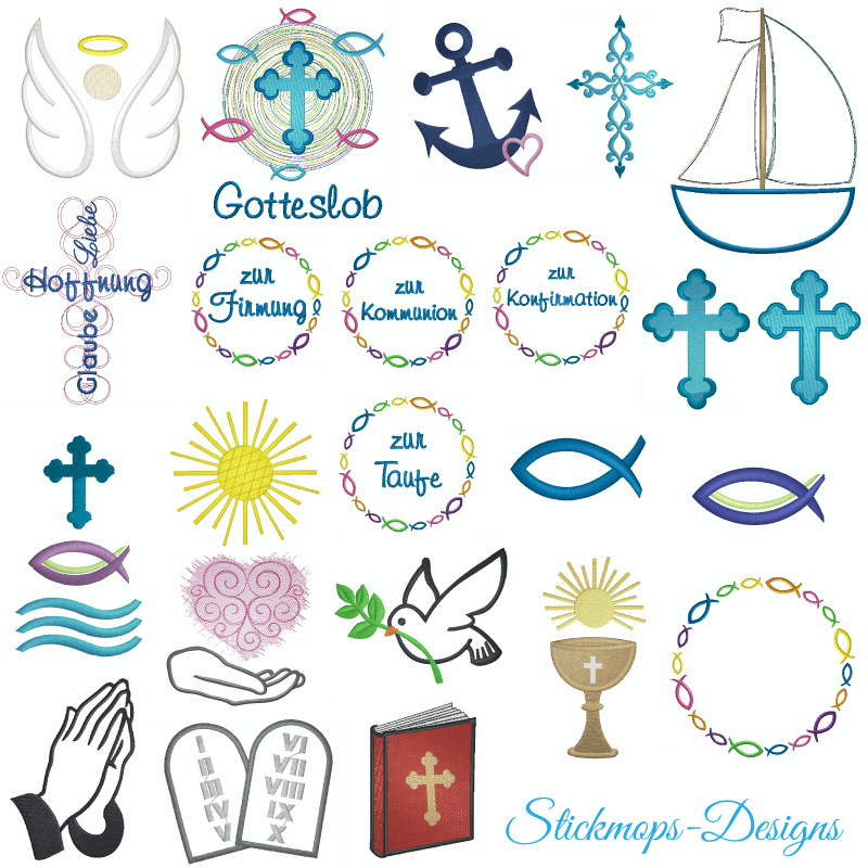 Stickdatei Set christliche Symbole