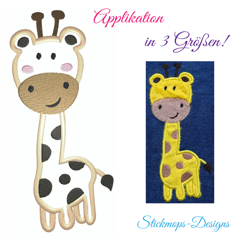 Stickdatei Giraffe Applikation in 3 Größen
