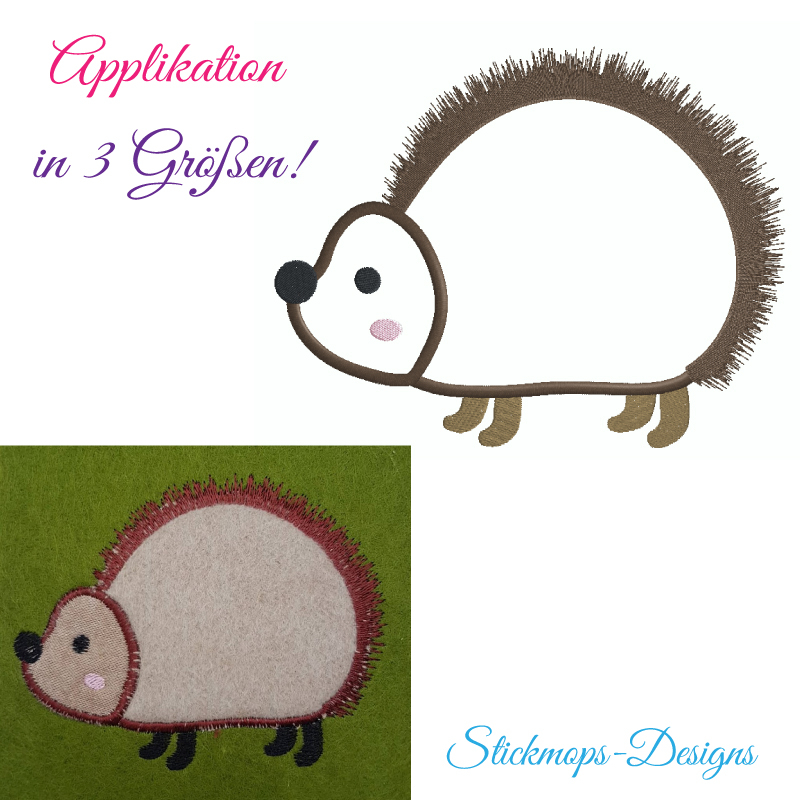 Stickdatei Igel Applikation in 3 Größen