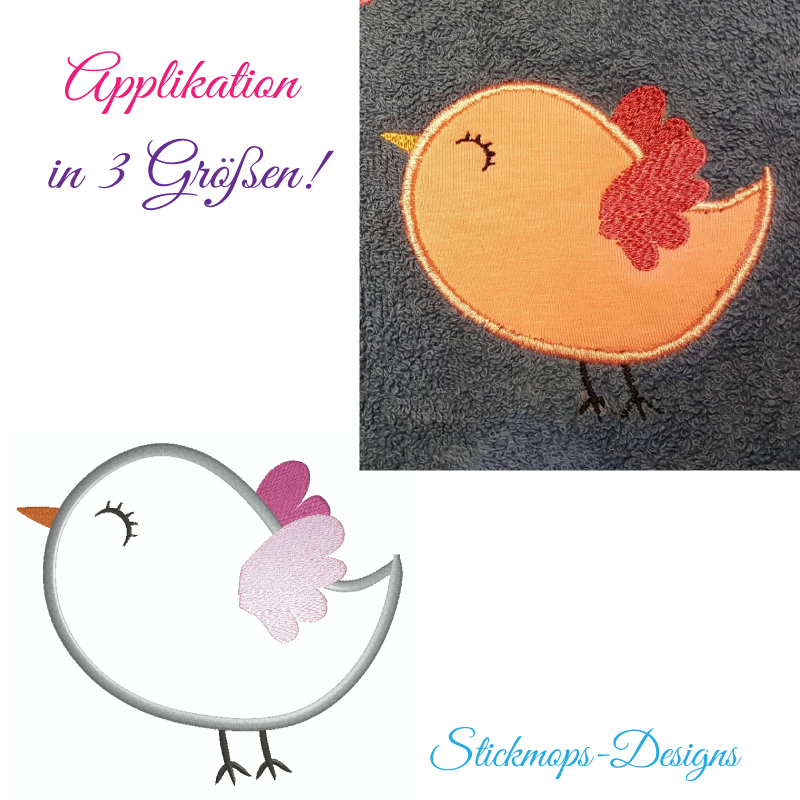 Stickdatei Vogel Applikation in 3 Größen