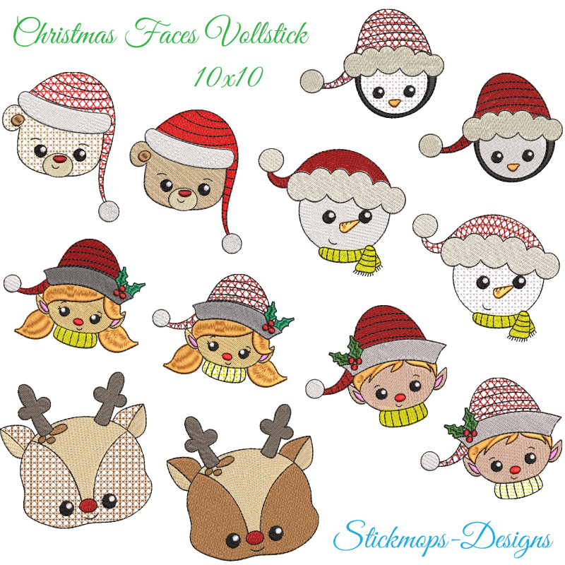 Stickdatei Set Christmas Faces Vollstick