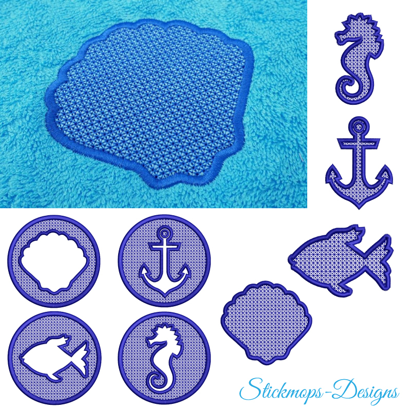 Stickdatei Set Maritime Handtuch Motive Embossed 10x10